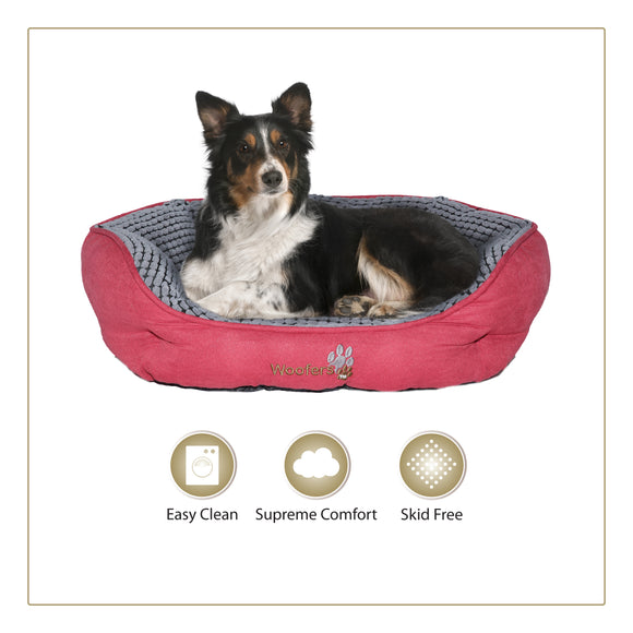 Woofers Lagan Large Dog Bed |  Red & Grey - Dog Nappers Dog Beds