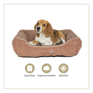 Woofers Liffey Medium Dog Bed | Brown & Beige - Dog Nappers Dog Beds