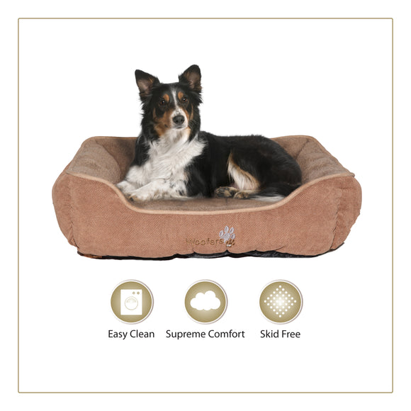Woofers Liffey Large Dog Bed | Brown & Beige - Dog Nappers Dog Beds