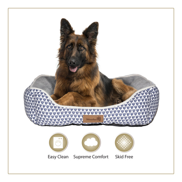 Woofers Nore X Large Dog Bed | Blue & White - Dog Nappers Dog Beds