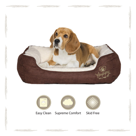 Yappy Roxy Medium Dog Bed | Brown - Dog Nappers Dog Beds