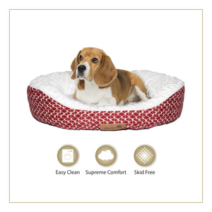 Woofers Slaney Medium Dog Bed | Red & White - Dog Nappers Dog Beds