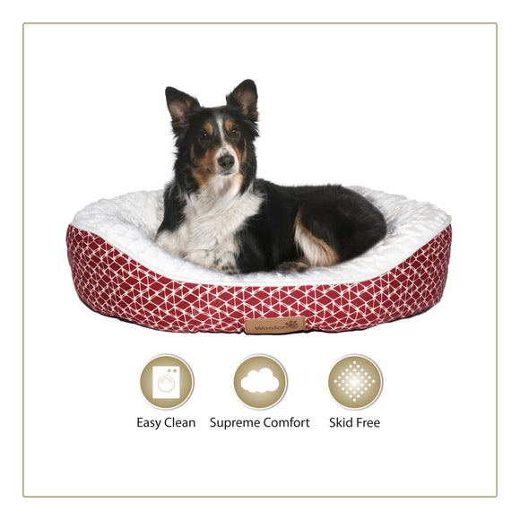 Woofers Slaney Large Dog Bed | Red & White - Dog Nappers Dog Beds