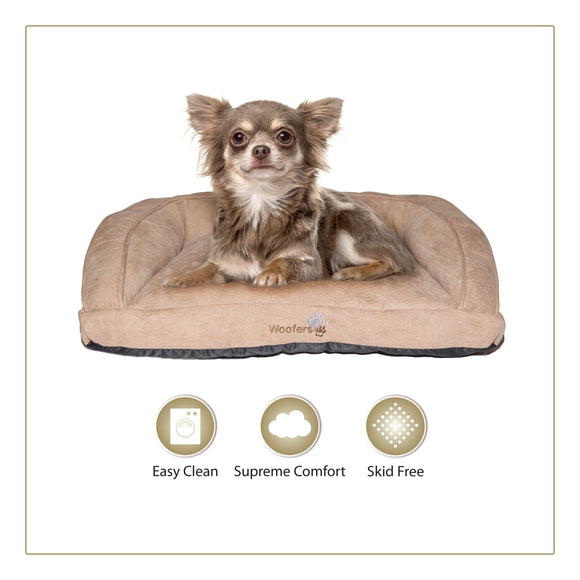 Woofers Suir Small Dog Bed | Tan - Dog Nappers Dog Beds