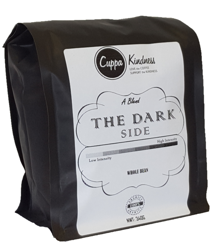Dark coffee beans sold online in Canada by Cuppa Kindness