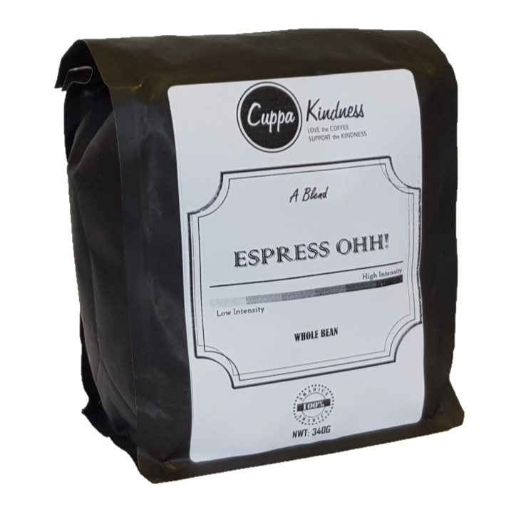 Espresso whole coffee beans, sold in Canada as Espresso OHH! by Cuppa Kindness, the best new online coffee store in Canada.