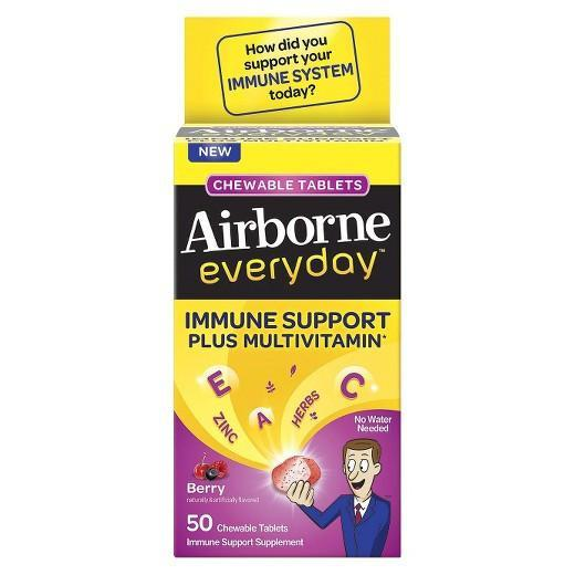 Buy Airborne, Everyday Immune Support Plus Multivitamin Chewable Berry, 50 Tablets at Herbal Bless Supplement Store