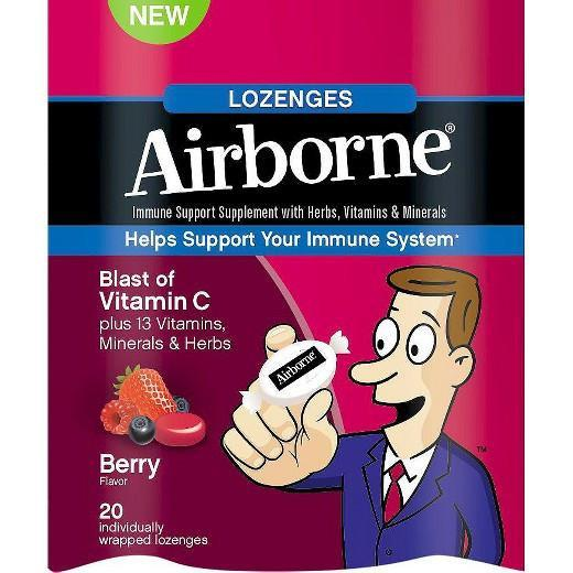 Buy Airborne, Immune Support Supplement Berry Flavor Lozenges, 20ct at Herbal Bless Supplement Store