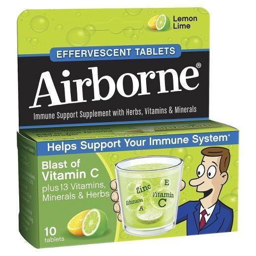 Buy Airborne, Immune Support with Vitamin C - Lemon Lime, 10 Effervescent Tablets at Herbal Bless Supplement Store