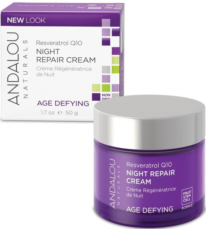 Buy Andalou Naturals, Age Defying Resveratrol Q10 Night Repair Cream, 1.7 oz at Herbal Bless Supplement Store