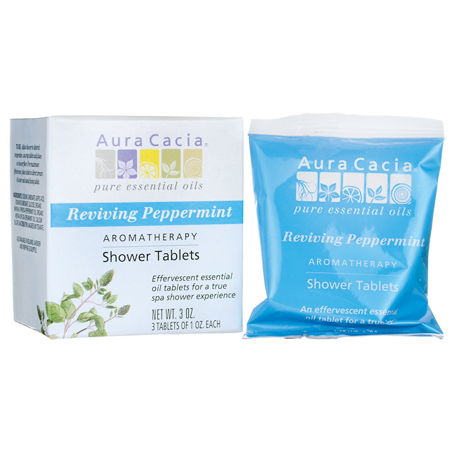 Buy Aura Cacia, Shower Tablets Reviving Peppermint, 3 pkt at Herbal Bless Supplement Store