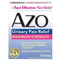 Buy AZO, Urinary Pain Relief™ Maximum Strength Tablets - 24 Count at Herbal Bless Supplement Store