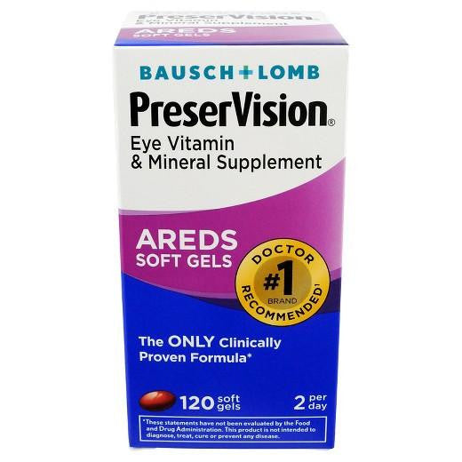 Buy Bausch & Lomb, PreserVision® AREDS Eye Vitamin & Mineral Soft Gels - 120ct at Herbal Bless Supplement Store
