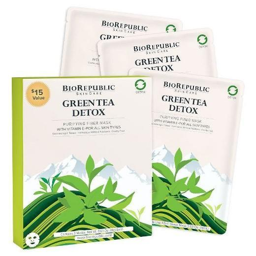 Buy BioRepublic, Detox Purifying Sheet Mask - Green Tea - Facial Mask Treatment - 3ct at Herbal Bless Supplement Store