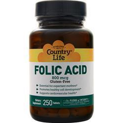 Buy Country Life, Folic Acid (800mcg), 250 tabs at Herbal Bless Supplement Store