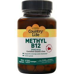Buy Country Life, Methyl B12 (3000mcg), Berry 120 lzngs at Herbal Bless Supplement Store
