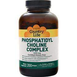 Buy Country Life, Phosphatidyl Choline Complex (1200mg), 200 slegs at Herbal Bless Supplement Store