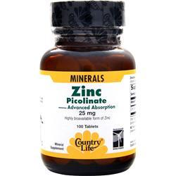Buy Country Life, Zinc Picolinate, 100 tabs at Herbal Bless Supplement Store