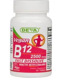 Buy Deva, Vegan B12 2500mcg Sublingual (Fast Dissolve), 90 tablet at Herbal Bless Supplement Store