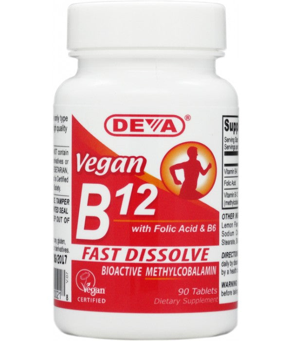 Buy Deva, Vegan Sublingual (Fast Dissolve) B12 1000mcg, 90 tablet at Herbal Bless Supplement Store