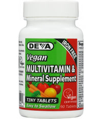 Buy Deva, Vegan Tiny Tablets Multivitamin - Iron Free, 90 Mini Tabs at Herbal Bless Supplement Store