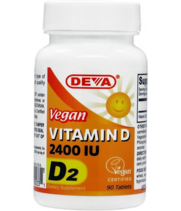 Buy Deva, Vegan Vitamin D2 - 2400 IU, 90 tablet at Herbal Bless Supplement Store
