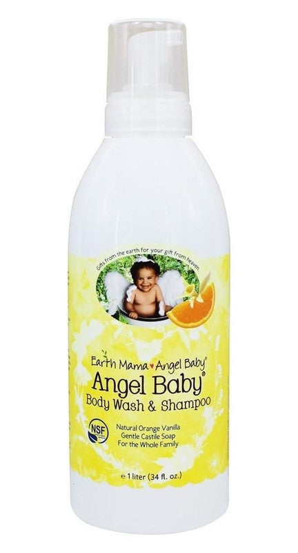 Buy Earth Mama Angel Baby, Angel Baby Shampoo & Body Wash, 34 oz (1 liter) at Herbal Bless Supplement Store