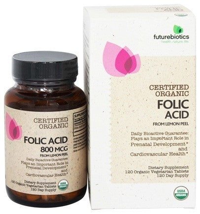 Buy Futurebiotics, Folic Acid - Certified Organic, 120 tab vegi at Herbal Bless Supplement Store
