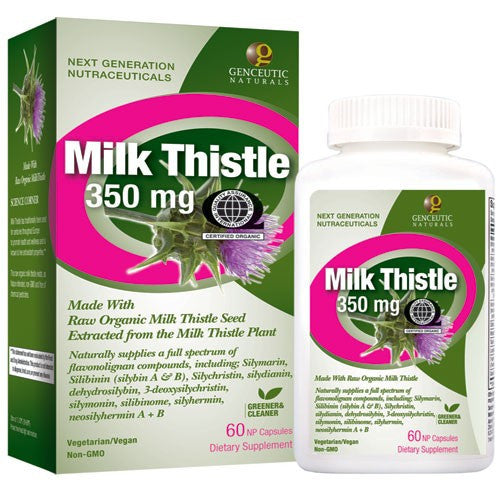 Buy Genceutics, QAI Certified Organic Milk Thistle 350mg, 60 capsule at Herbal Bless Supplement Store