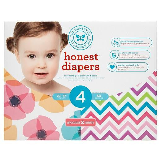 Buy Honest Company, Club Pack DiapersPoppies + Chevron - Size 4 (60 ct) at Herbal Bless Supplement Store
