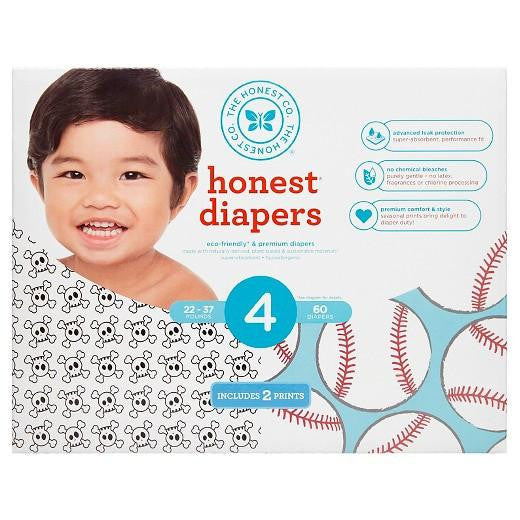Buy Honest Company, Diapers Club Box-Skulls and Baseballs - Size 4 (60 ct) at Herbal Bless Supplement Store