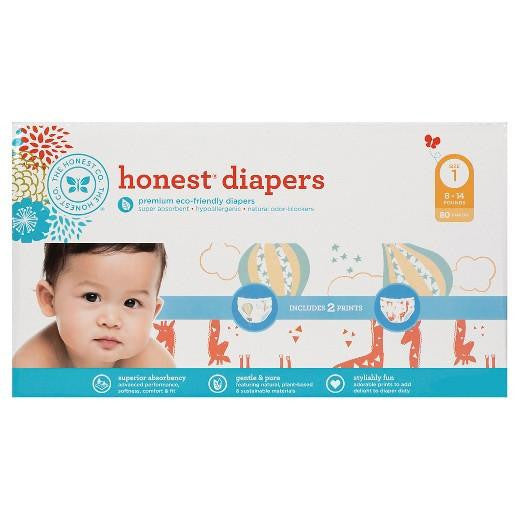 Buy Honest Company, Diapers Club Pack Balloons + Giraffes Size 1 (80 ct) at Herbal Bless Supplement Store