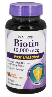 Buy Natrol, Biotin 10000mcg Fast Dissolve, 60 tab - vegetarian at Herbal Bless Supplement Store