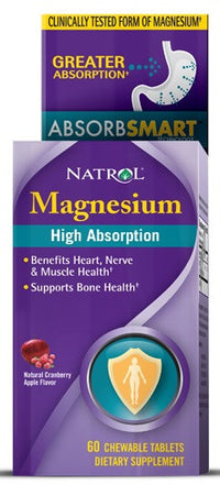 Buy Natrol, High Absorption Magnesium, Cranberry Apple Flavor, 60 Chew Tablets at Herbal Bless Supplement Store