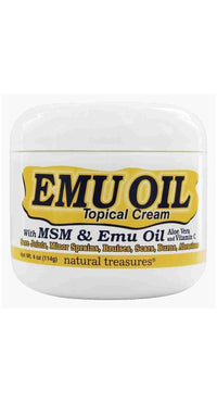 Buy Natural Treasures, Emu Oil with MSM Topical Cream - 4 oz at Herbal Bless Supplement Store