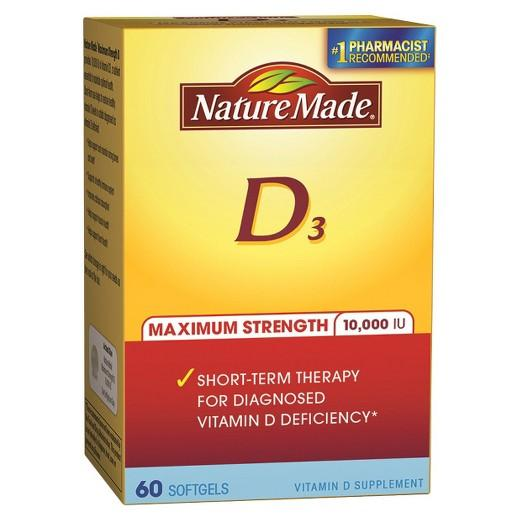 Buy Nature Made, Maximum Strength Vitamin D 10000 I.U. Softgels - 60 Count at Herbal Bless Supplement Store