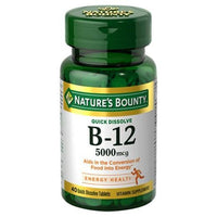 Buy Nature's Bounty, Vitamin B12 5000 mcg Tablets - 40 Count at Herbal Bless Supplement Store