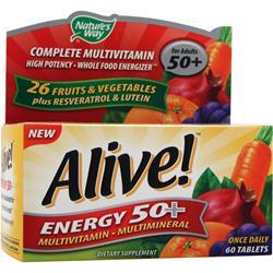 Buy Nature's Way, Alive Energy 50+ Multivitamin - Multimineral, Caffeine-Free 60 tabs at Herbal Bless Supplement Store