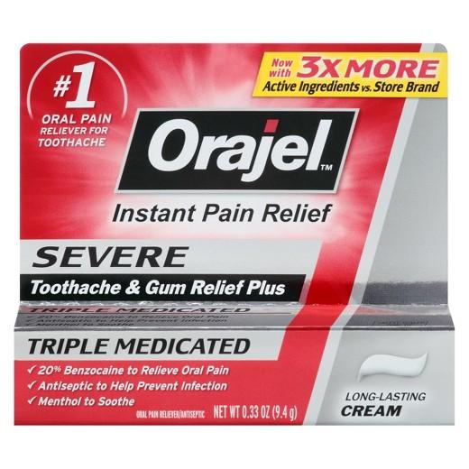 Buy Orajel ™, Severe Triple Medicated Toothache & Gum Relief Plus Cream -.33oz at Herbal Bless Supplement Store