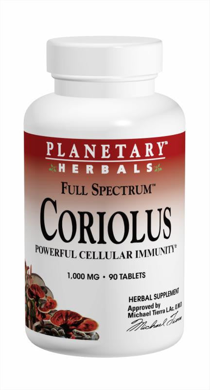 Buy PLANETARY HERBALS, Coriolus Full Spectrum™ 1000mg, 30 tablet at Herbal Bless Supplement Store