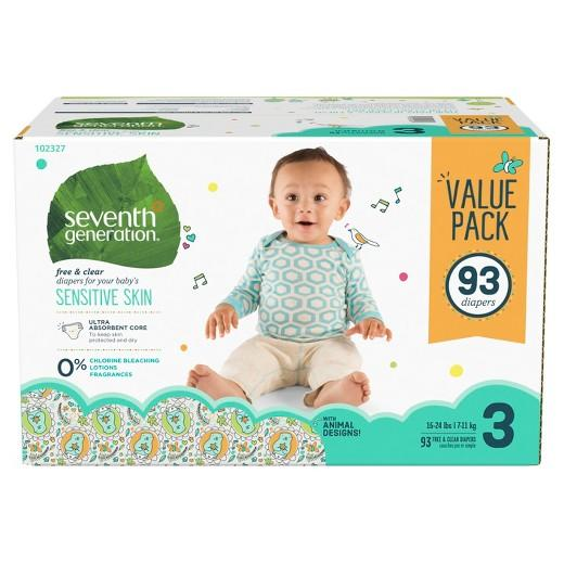 Buy Seventh Generation, Free & Clear Diapers, Value Pack (Select Size) at Herbal Bless Supplement Store