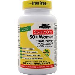 Buy Super Nutrition, Simply One 50+ Women - High Energy One-Per-Day (Iron Free), 90 tabs at Herbal Bless Supplement Store