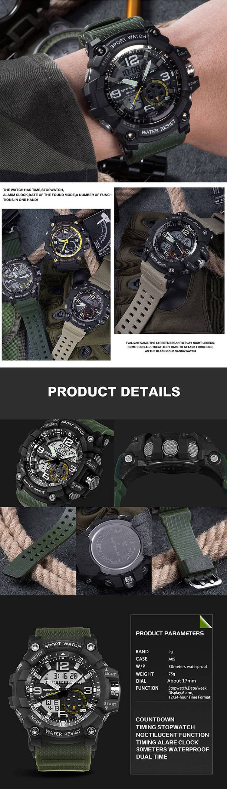 G Style Shock Resistant Digital Analog Military Sport Watch