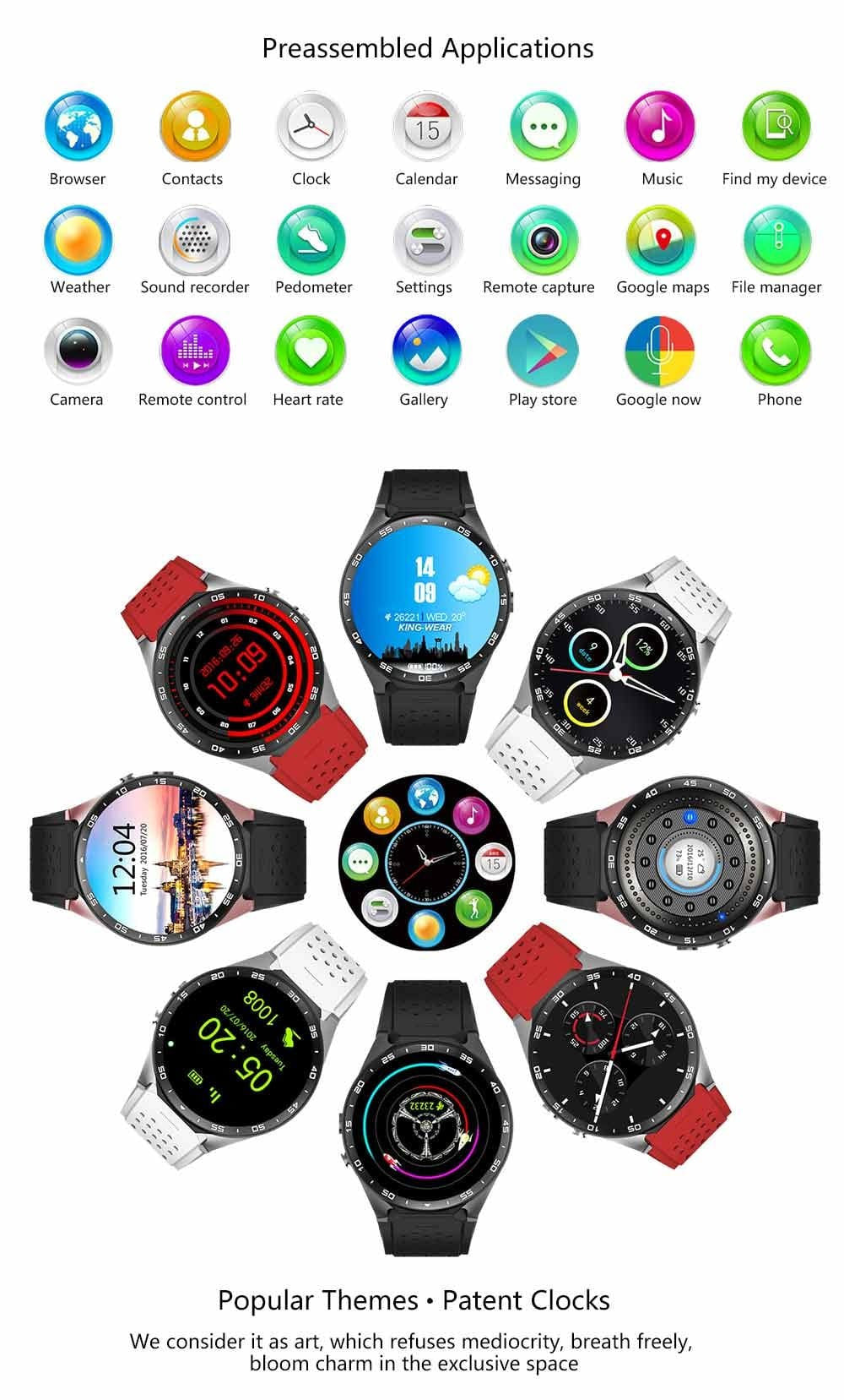 KM8 Premium Android iOS Smartwatch Phone