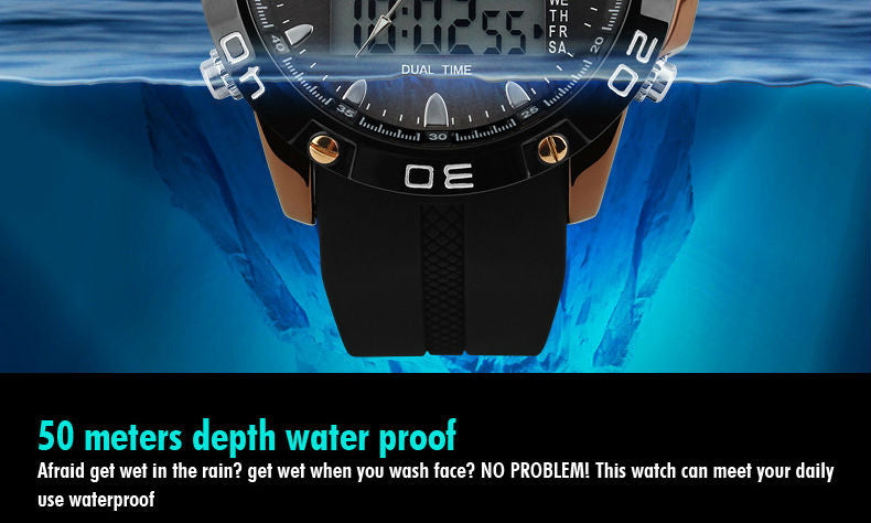 SK10 Solar Power Digital Analog Military Sport Watch