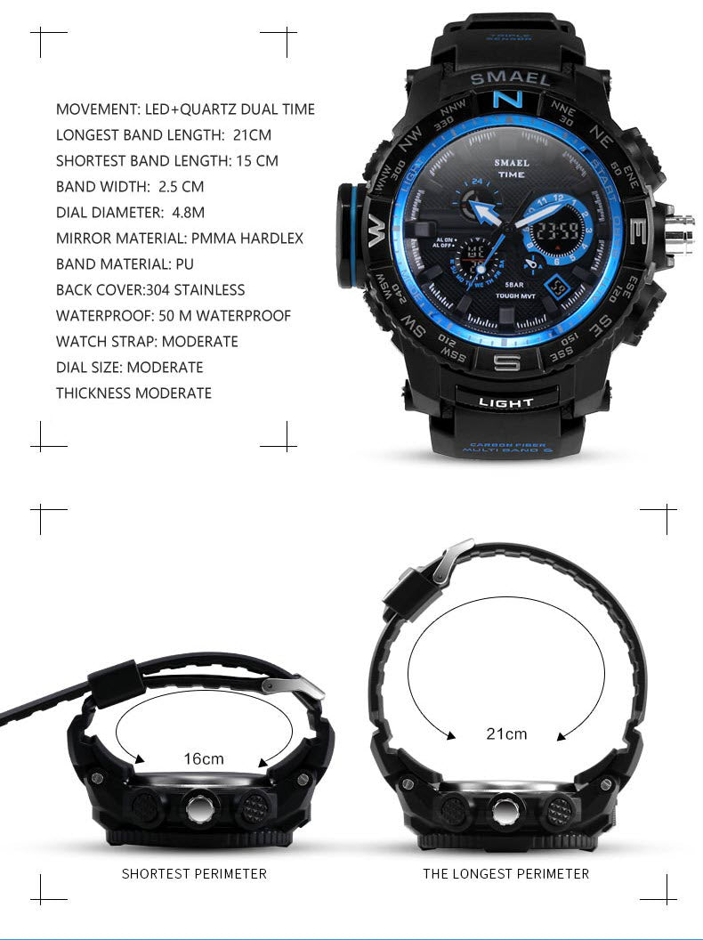 SM8 Warrior™ Ultimate Shock Resistant Digital Analog Military Sport Watch