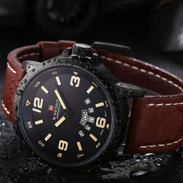 NV8 Leather Strap Military Watch