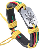 Genuine Leather Weed Leaf Bracelet