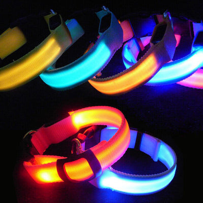 LED Safety Dog Collar Flashing Glow In The Dark