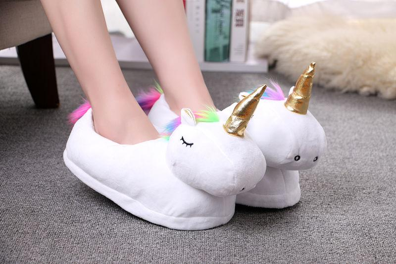 Plush Unicorn Slippers